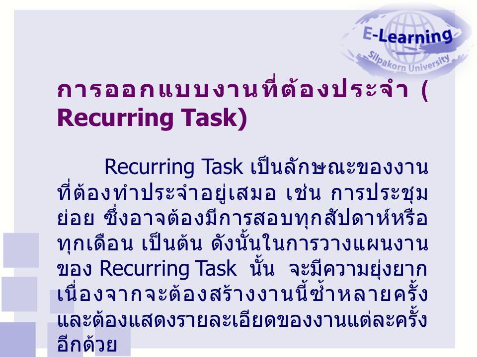 การออกแบบงานที่ต้องประจำ ( Recurring Task)