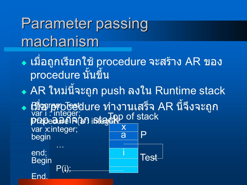 Parameter passing machanism