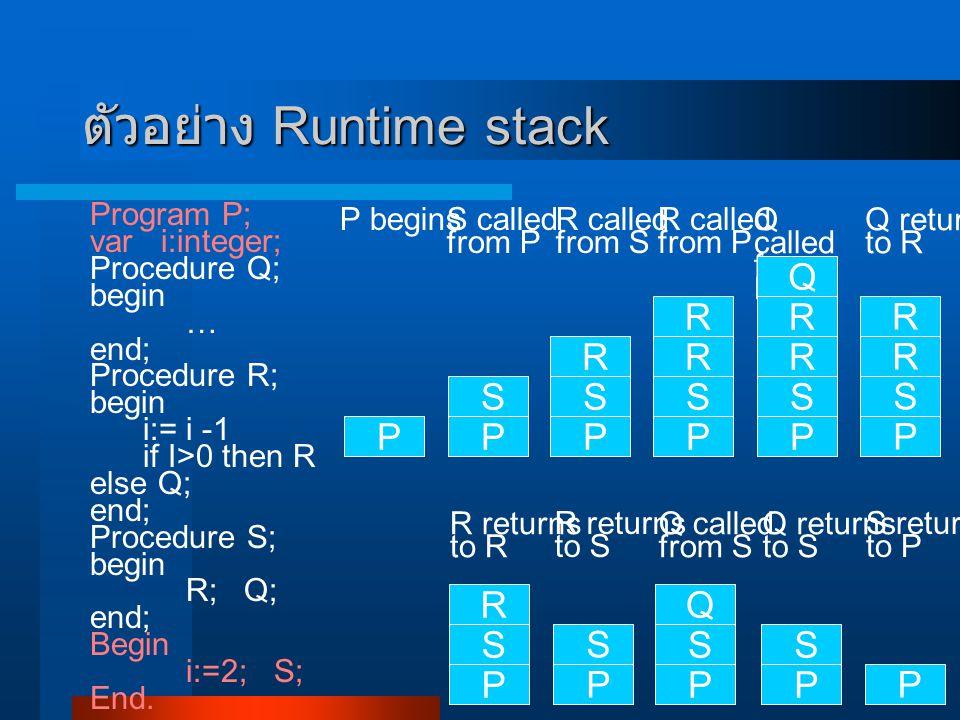 ตัวอย่าง Runtime stack