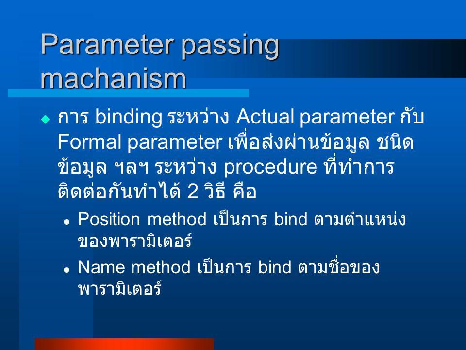 Parameter passing machanism