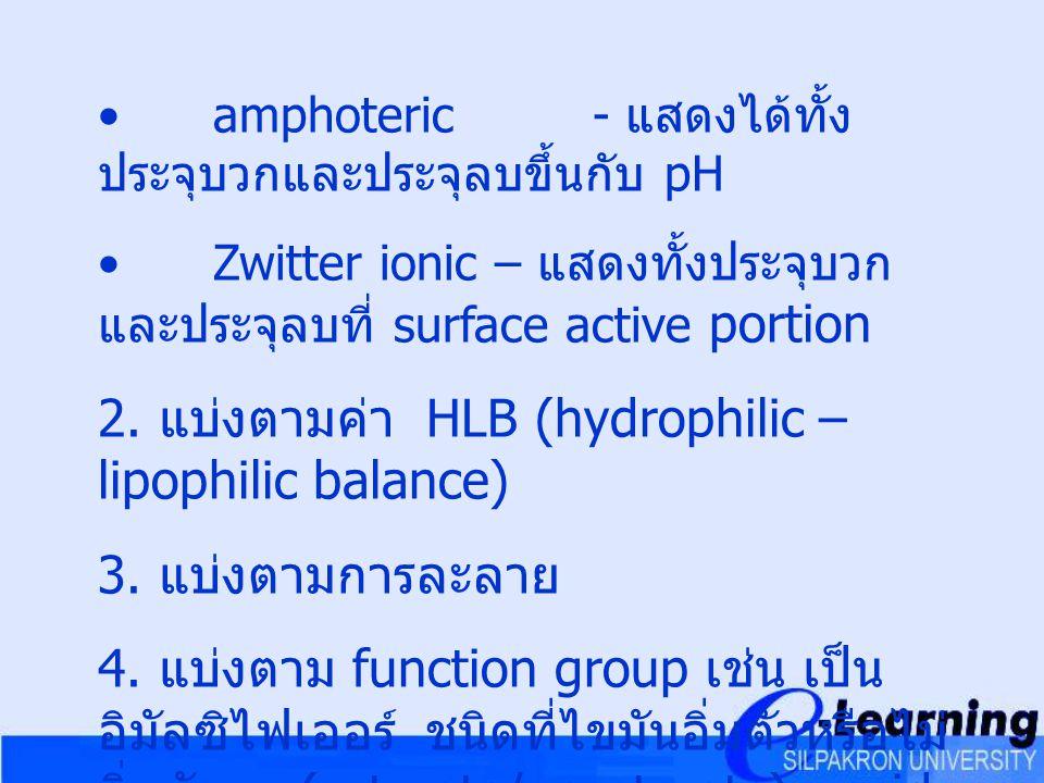 2. แบ่งตามค่า HLB (hydrophilic – lipophilic balance)