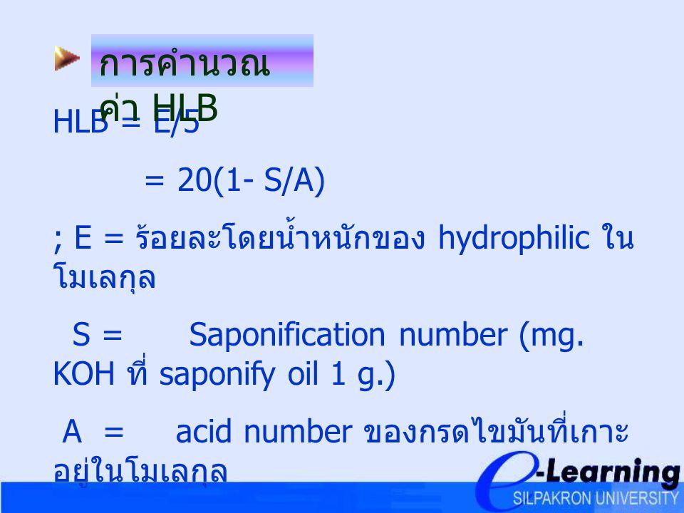 การคำนวณค่า HLB HLB = E/5 = 20(1- S/A)