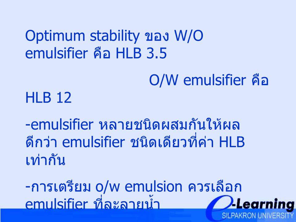 Optimum stability ของ W/O emulsifier คือ HLB 3.5
