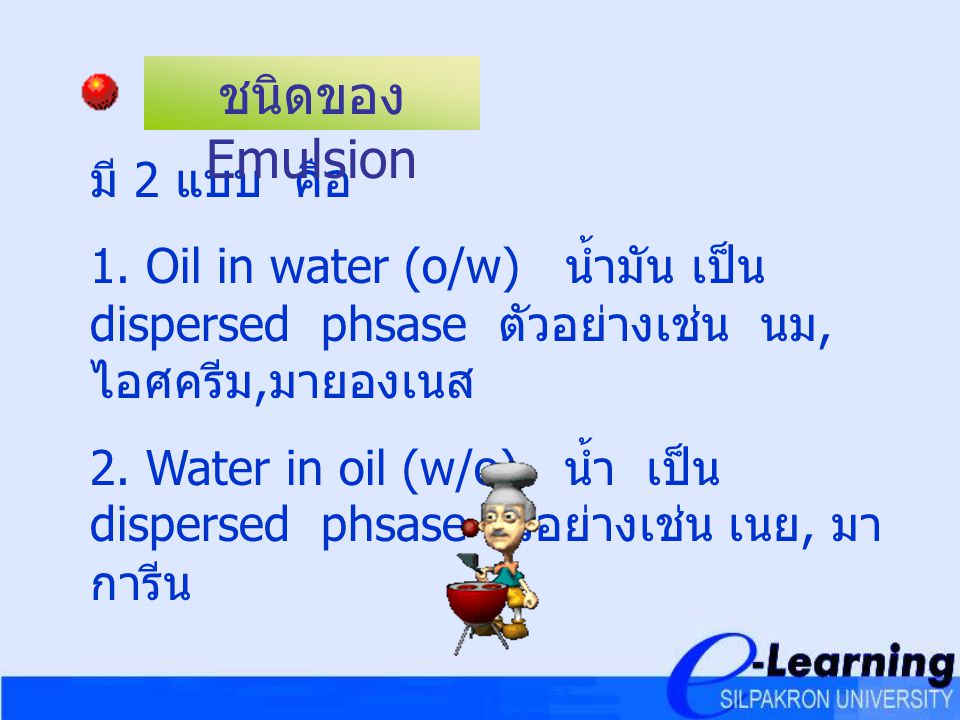ชนิดของ Emulsion มี 2 แบบ คือ