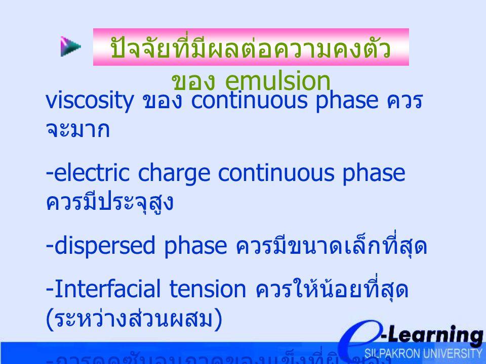 ปัจจัยที่มีผลต่อความคงตัวของ emulsion
