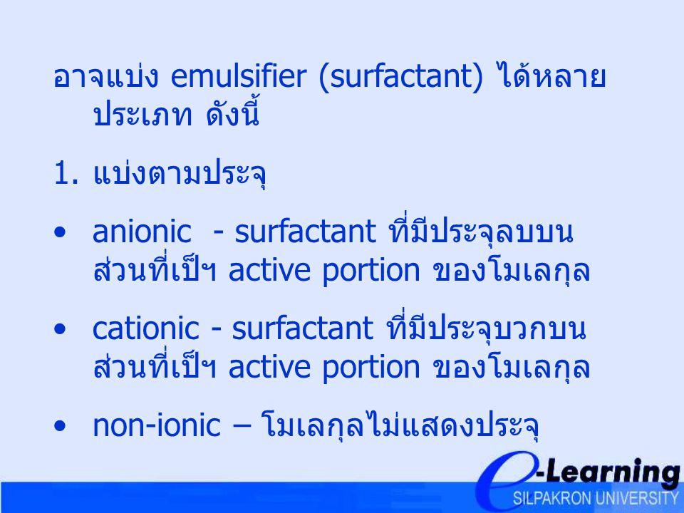 อาจแบ่ง emulsifier (surfactant) ได้หลายประเภท ดังนี้