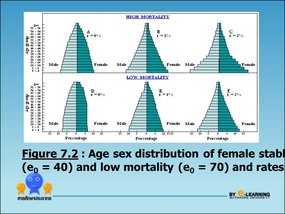 Figure 7.2 : Age sex distribution of female stable populations with high mortality