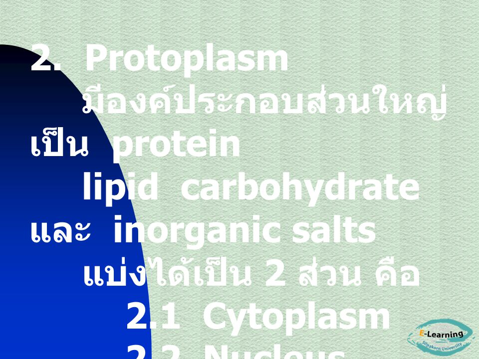 2. Protoplasm มีองค์ประกอบส่วนใหญ่เป็น protein. lipid carbohydrate และ inorganic salts. แบ่งได้เป็น 2 ส่วน คือ.