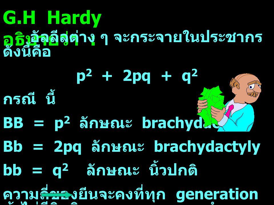 G.H Hardy อธิบายว่า : อัลลีลต่าง ๆ จะกระจายในประชากรดังนี้คือ