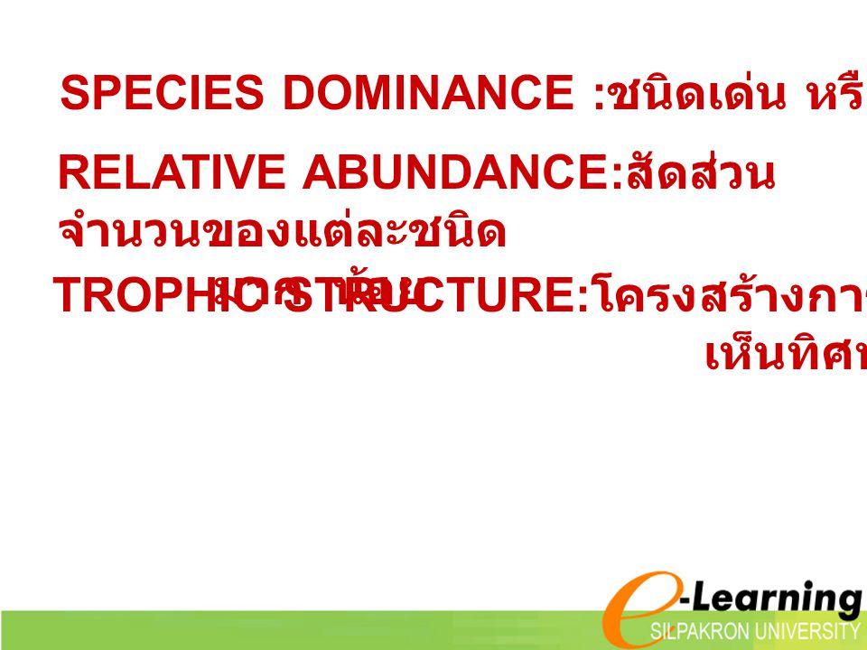 SPECIES DOMINANCE :ชนิดเด่น หรือสำคัญของสังคม