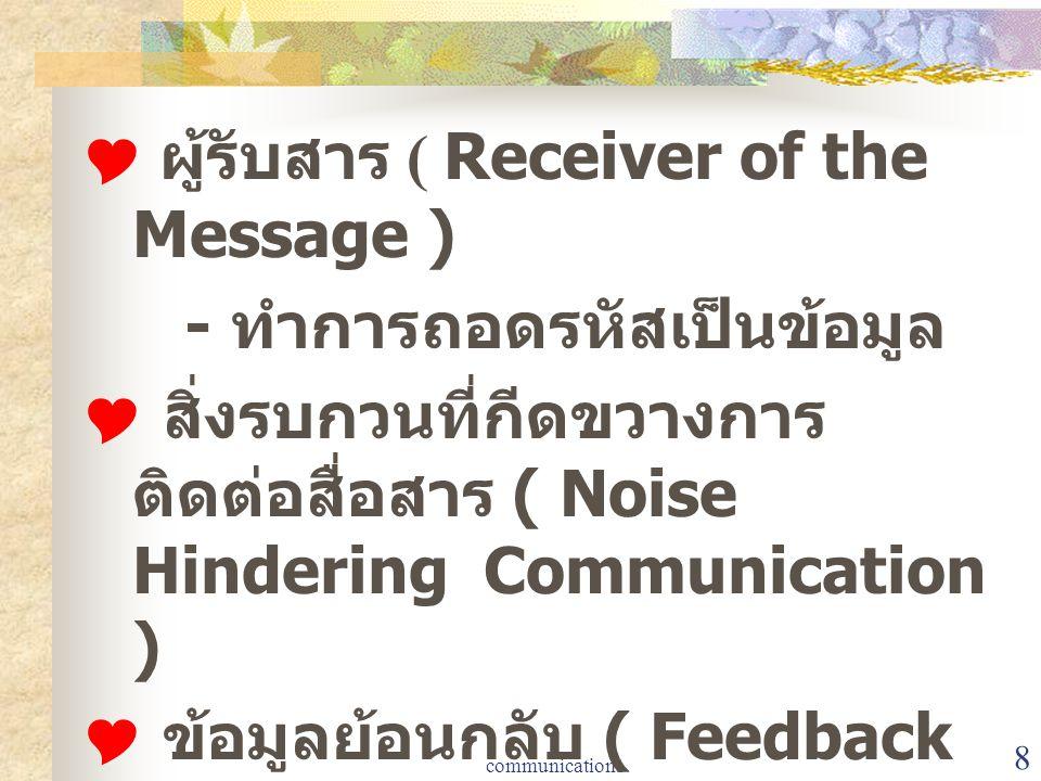  ผู้รับสาร ( Receiver of the Message ) - ทำการถอดรหัสเป็นข้อมูล