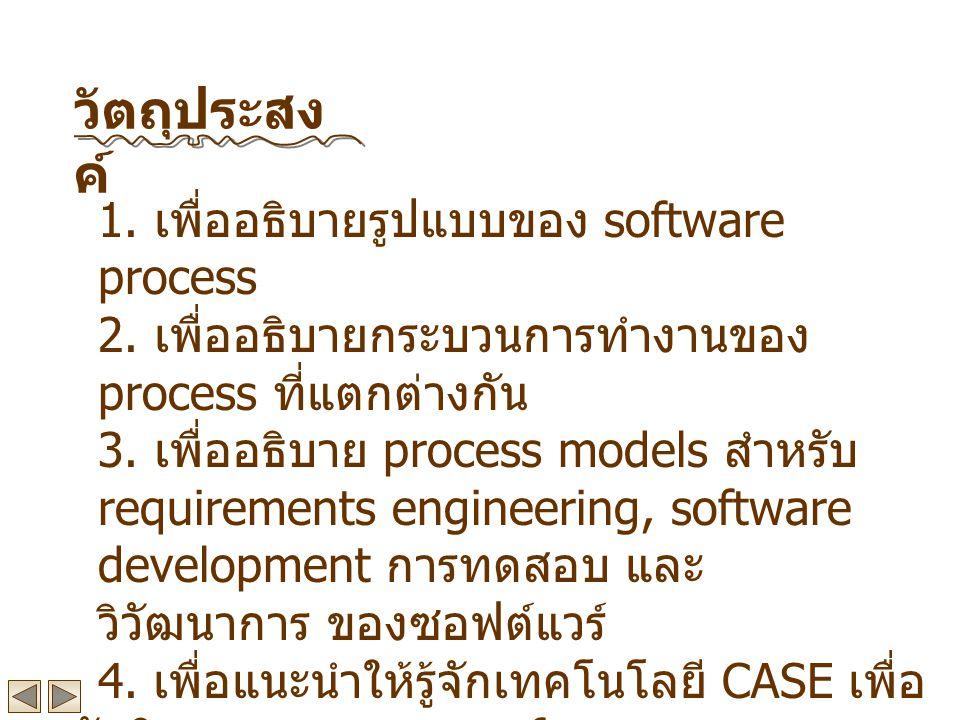 วัตถุประสงค์ 1. เพื่ออธิบายรูปแบบของ software process