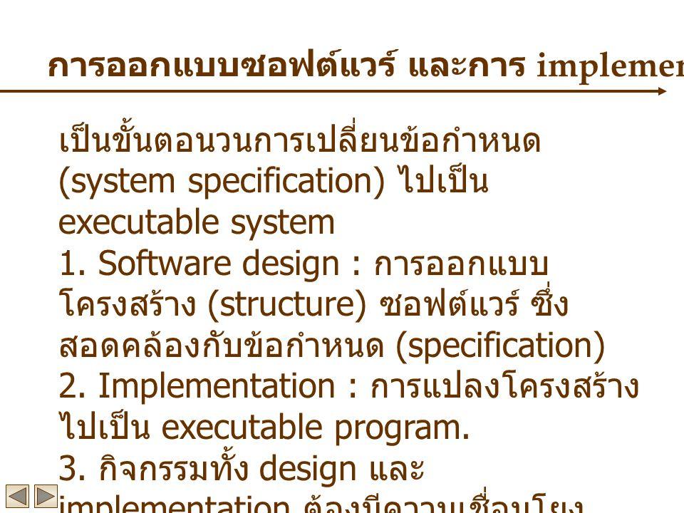 การออกแบบซอฟต์แวร์ และการ implementation