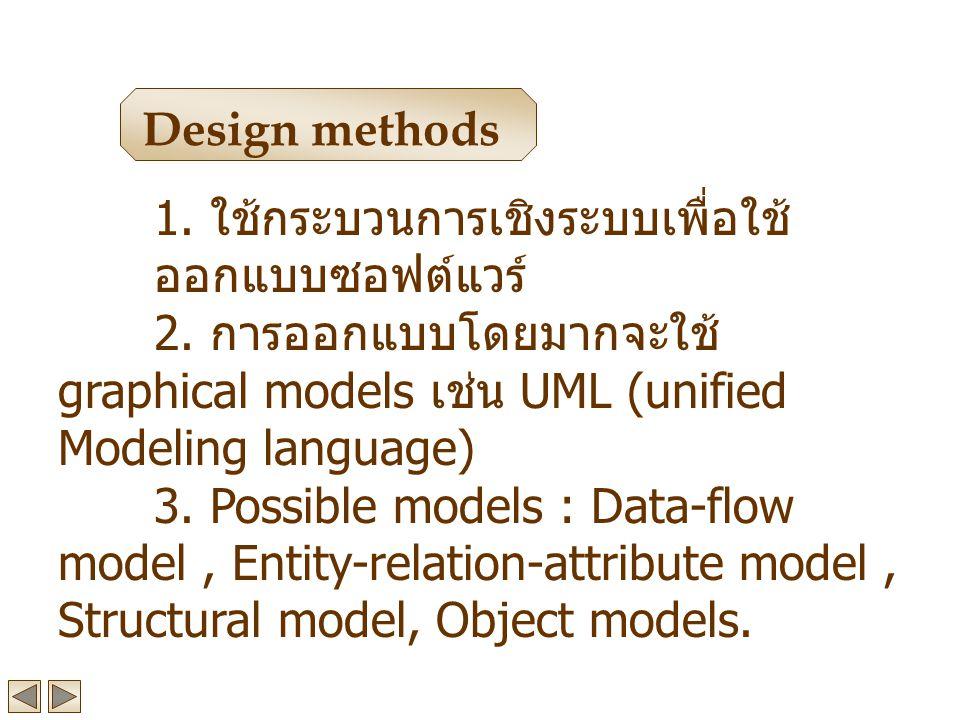 Design methods 1. ใช้กระบวนการเชิงระบบเพื่อใช้ออกแบบซอฟต์แวร์ 2. การออกแบบโดยมากจะใช้ graphical models เช่น UML (unified Modeling language)
