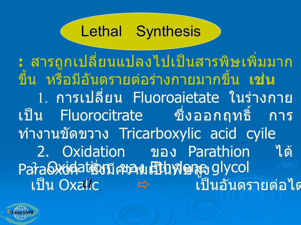 Lethal Synthesis : สารถูกเปลี่ยนแปลงไปเป็นสารพิษเพิ่มมากขึ้น หรือมีอันตรายต่อร่างกายมากขึ้น เช่น.