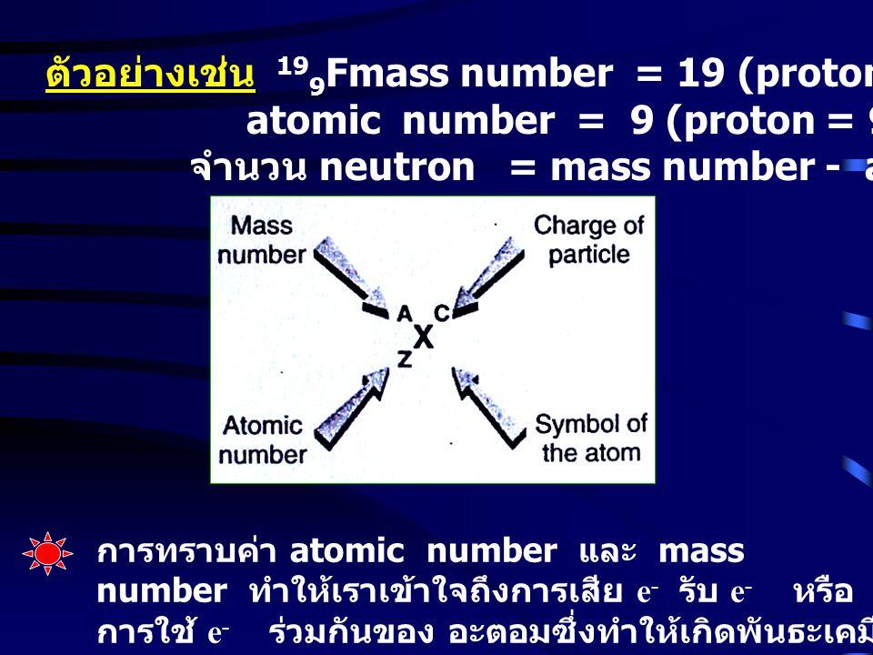 ตัวอย่างเช่น 199Fmass number = 19 (proton + neutron) = 19