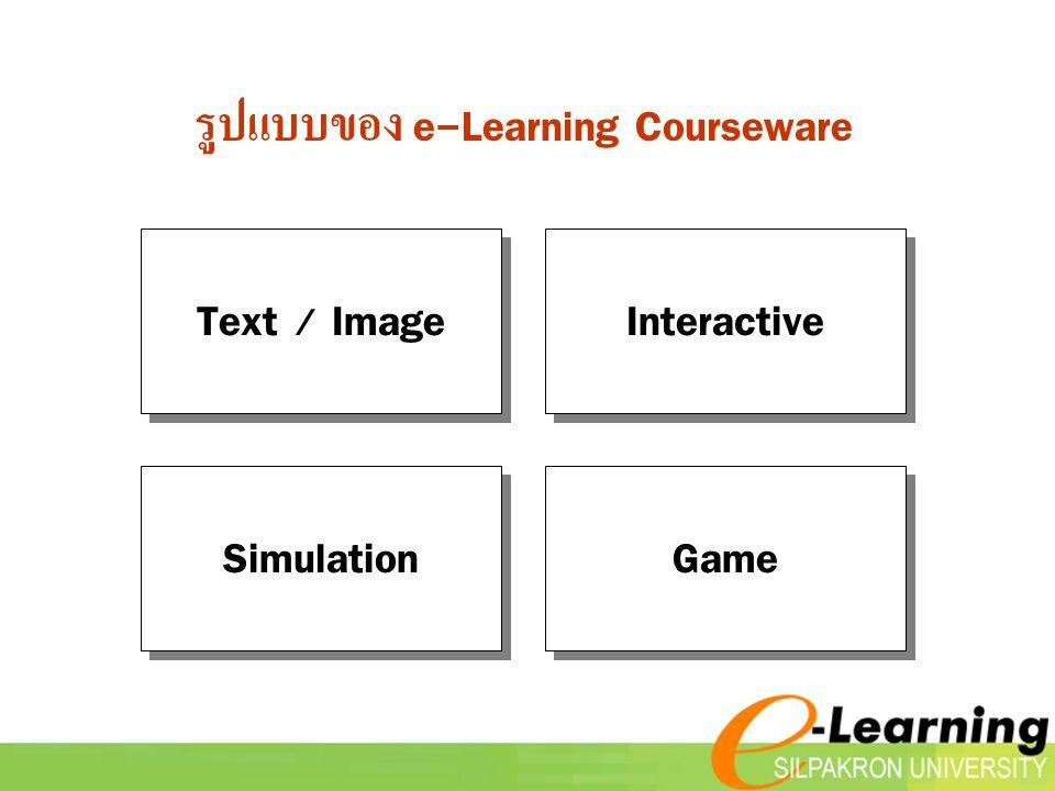 รูปแบบของ e-Learning Courseware