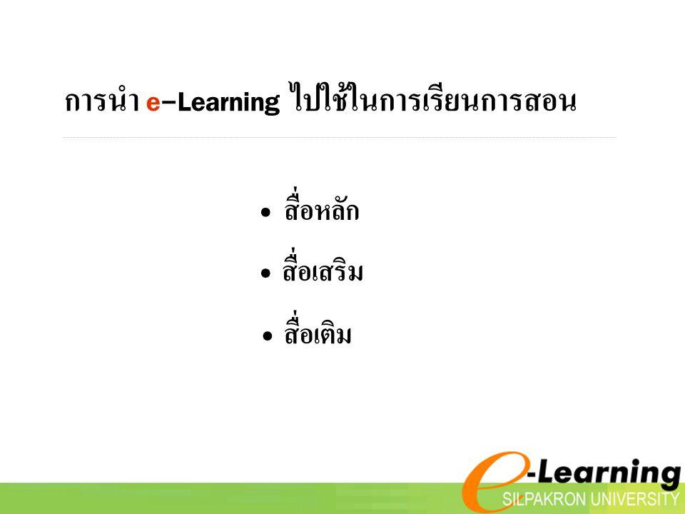 การนำ e-Learning ไปใช้ในการเรียนการสอน