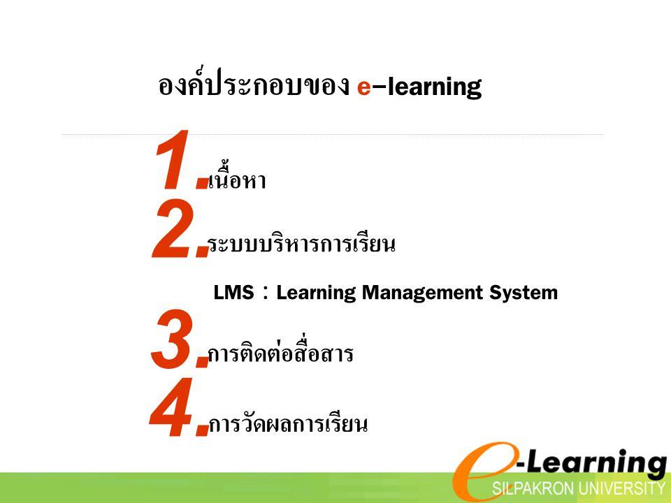 1. 2. 3. 4. องค์ประกอบของ e-learning เนื้อหา ระบบบริหารการเรียน