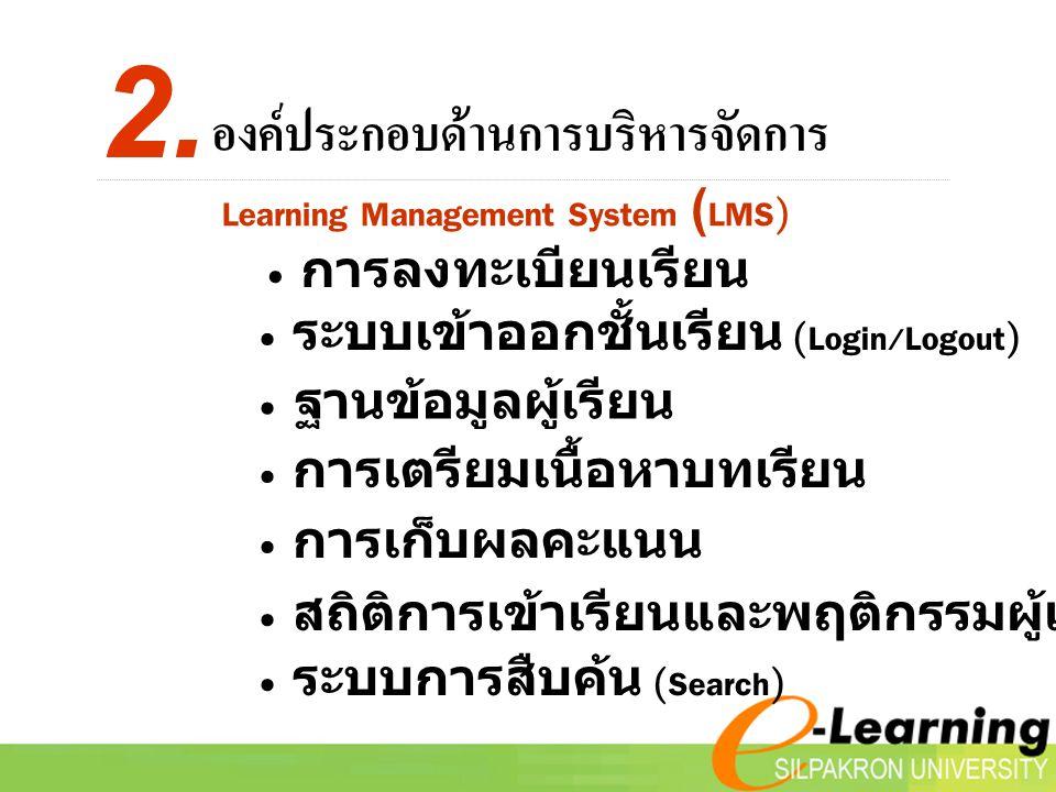 2. องค์ประกอบด้านการบริหารจัดการ Learning Management System (LMS)