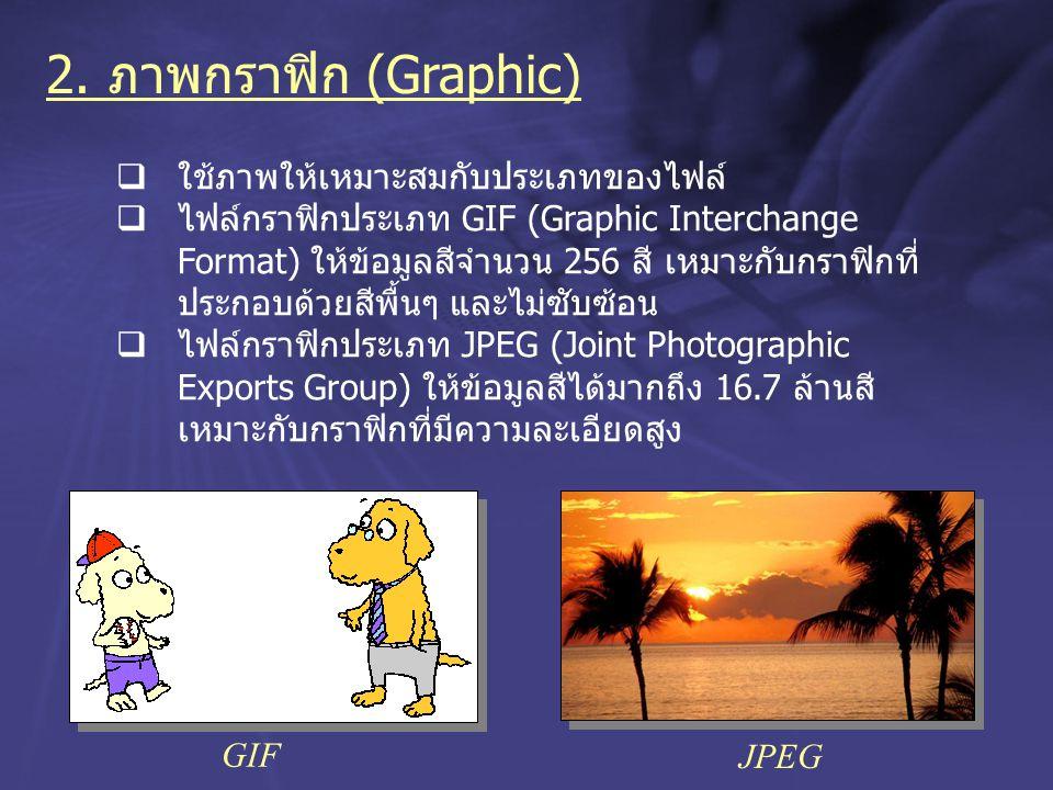 2. ภาพกราฟิก (Graphic) ใช้ภาพให้เหมาะสมกับประเภทของไฟล์