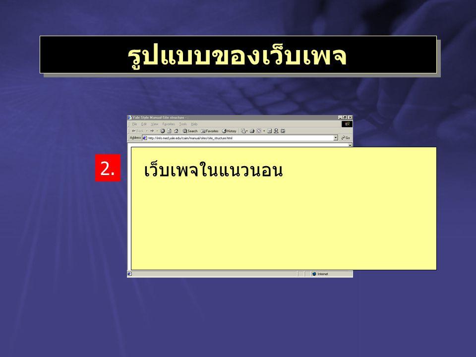 รูปแบบของเว็บเพจ 2. เว็บเพจในแนวนอน
