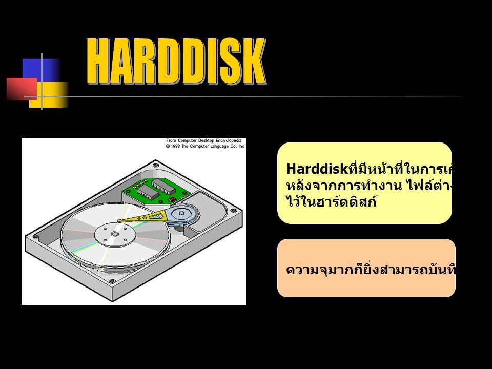 HARDDISK Harddiskที่มีหน้าที่ในการเก็บข้อมูล