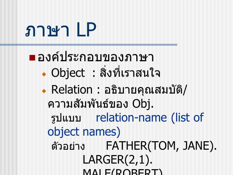 ภาษา LP องค์ประกอบของภาษา Object : สิ่งที่เราสนใจ