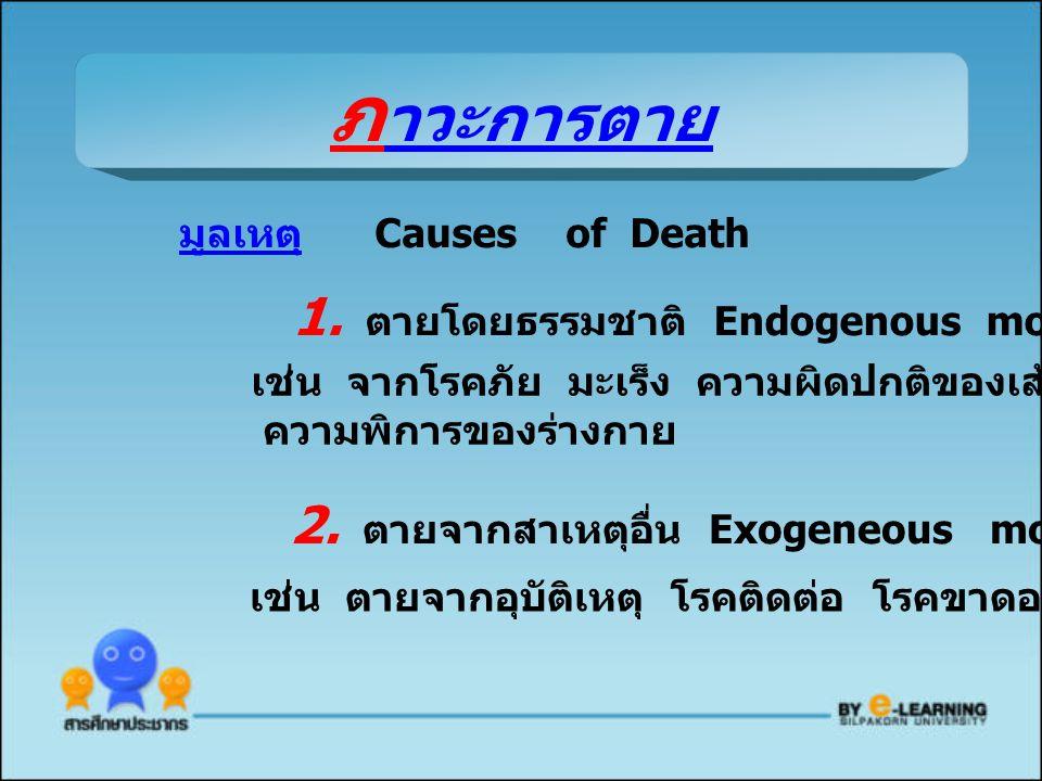 ภาวะการตาย 1. ตายโดยธรรมชาติ Endogenous mortality