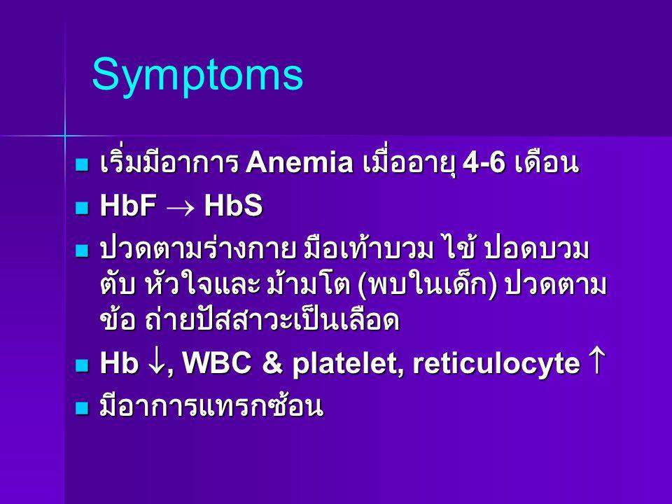 Symptoms เริ่มมีอาการ Anemia เมื่ออายุ 4-6 เดือน HbF  HbS