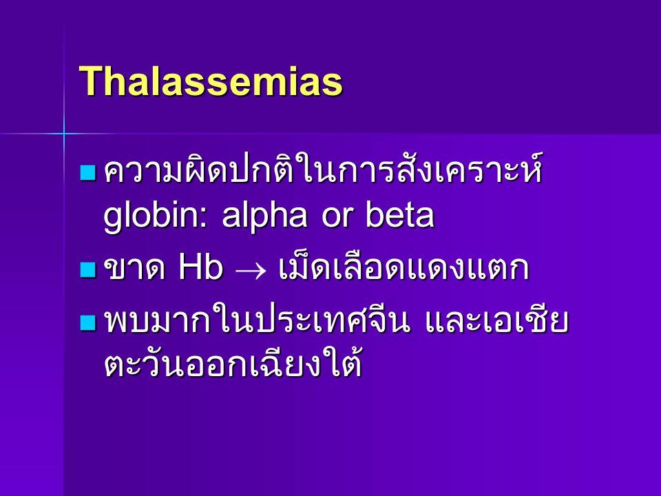 Thalassemias ความผิดปกติในการสังเคราะห์ globin: alpha or beta