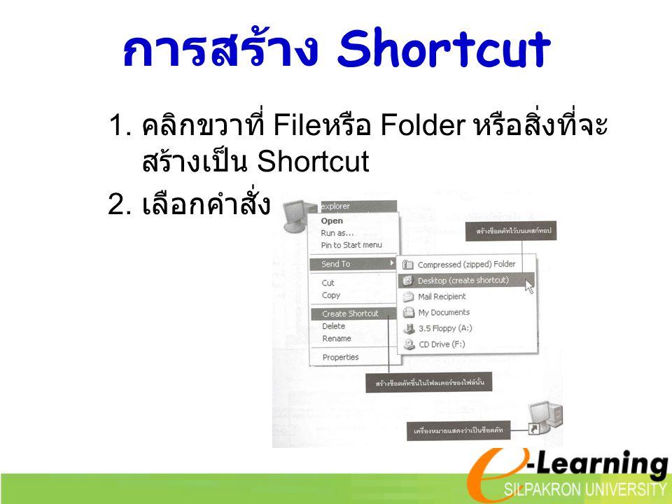 การสร้าง Shortcut คลิกขวาที่ Fileหรือ Folder หรือสิ่งที่จะสร้างเป็น Shortcut เลือกคำสั่ง