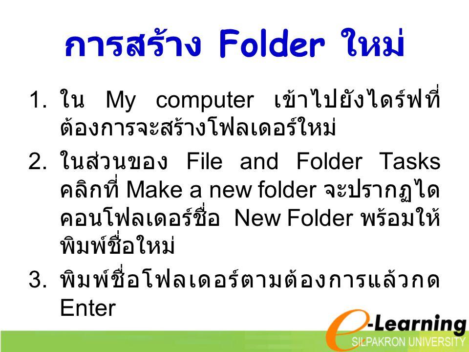 การสร้าง Folder ใหม่ ใน My computer เข้าไปยังไดร์ฟที่ต้องการจะสร้างโฟลเดอร์ใหม่