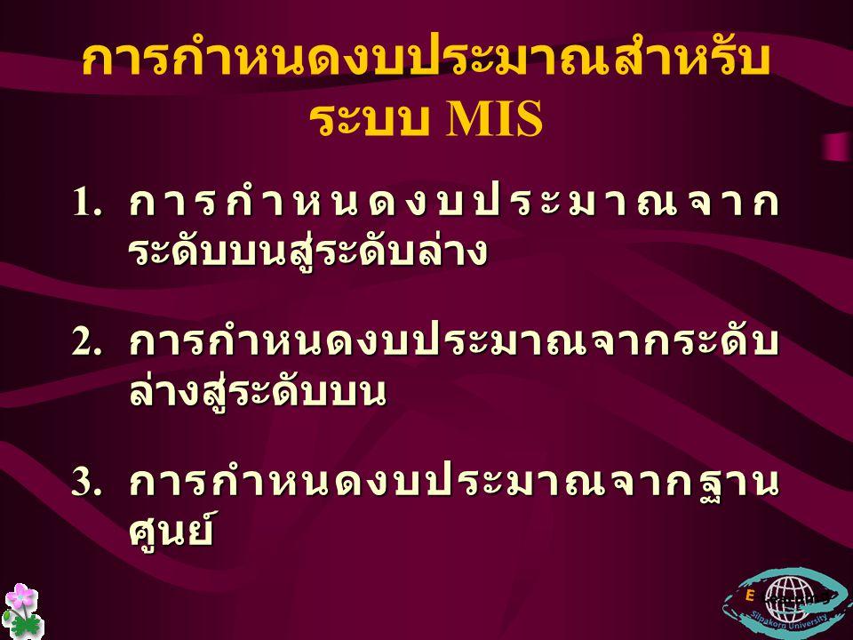 การกำหนดงบประมาณสำหรับระบบ MIS