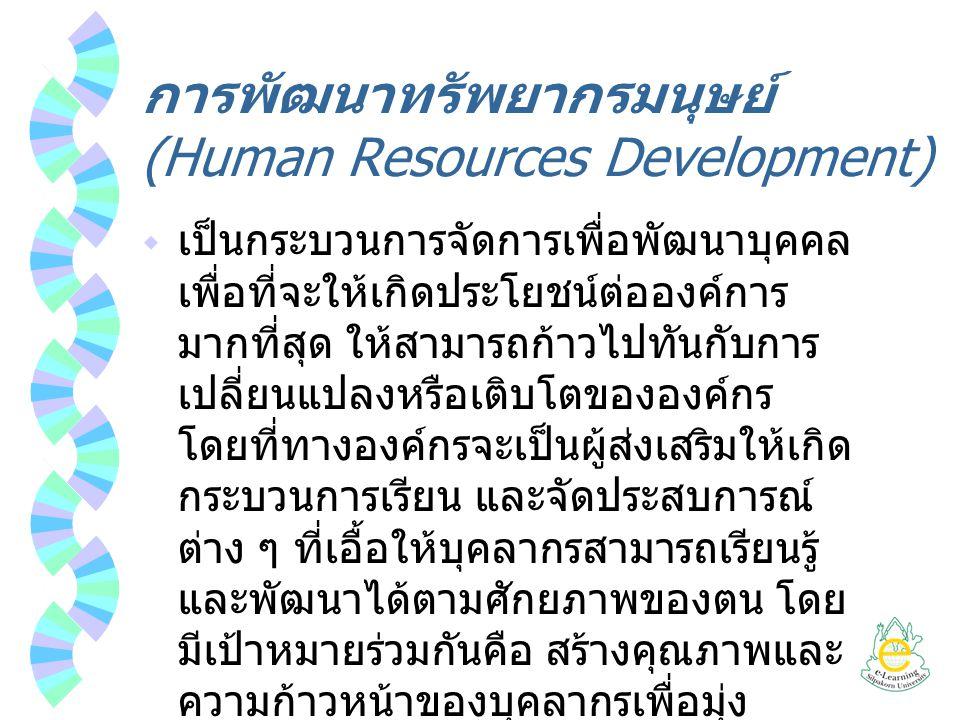 การพัฒนาทรัพยากรมนุษย์ (Human Resources Development)