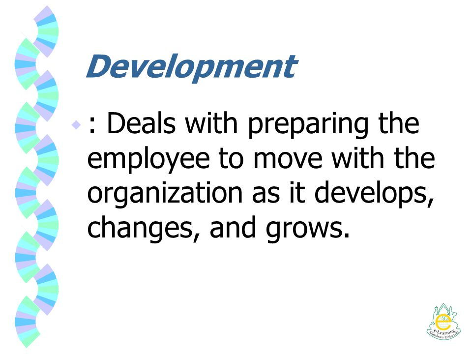 Development : Deals with preparing the employee to move with the organization as it develops, changes, and grows.