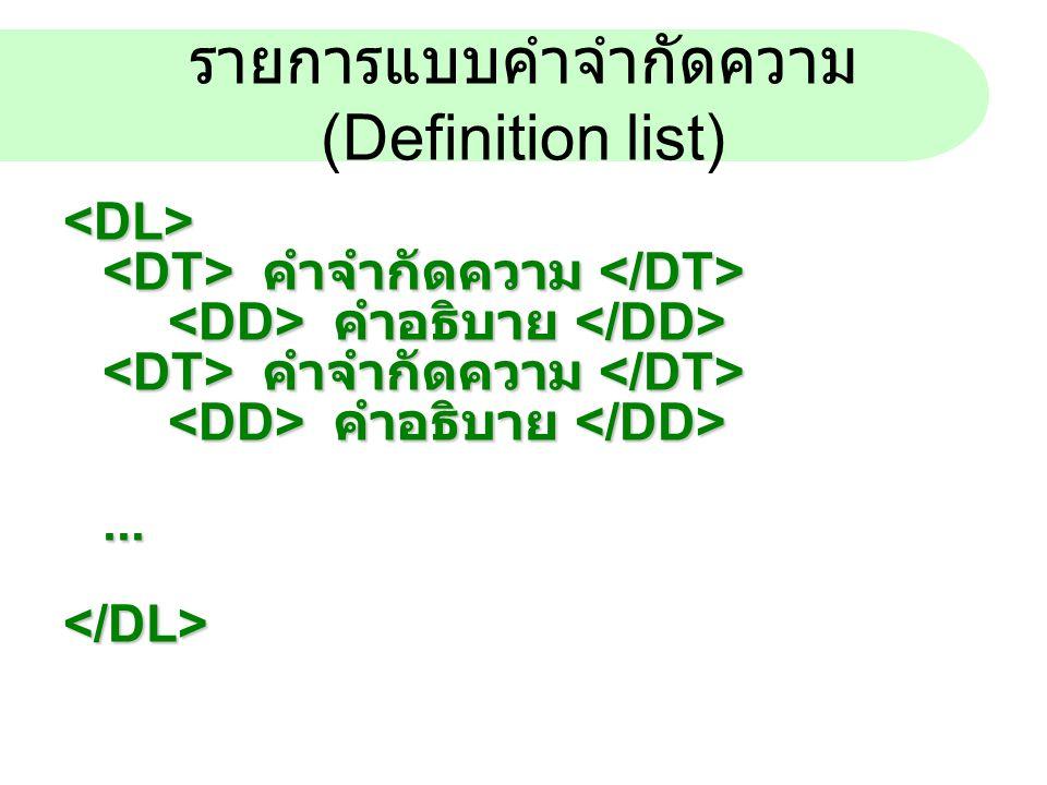 รายการแบบคำจำกัดความ (Definition list)