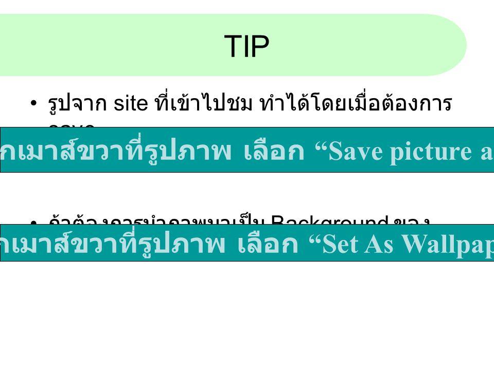 TIP คลิ้กเมาส์ขวาที่รูปภาพ เลือก Save picture as..