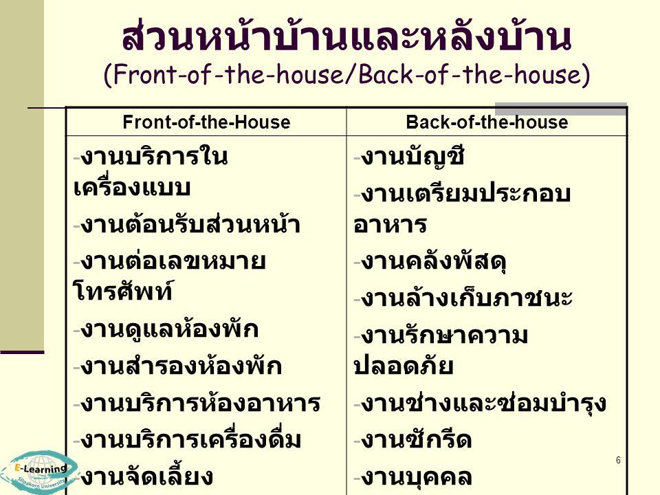 ส่วนหน้าบ้านและหลังบ้าน (Front-of-the-house/Back-of-the-house)