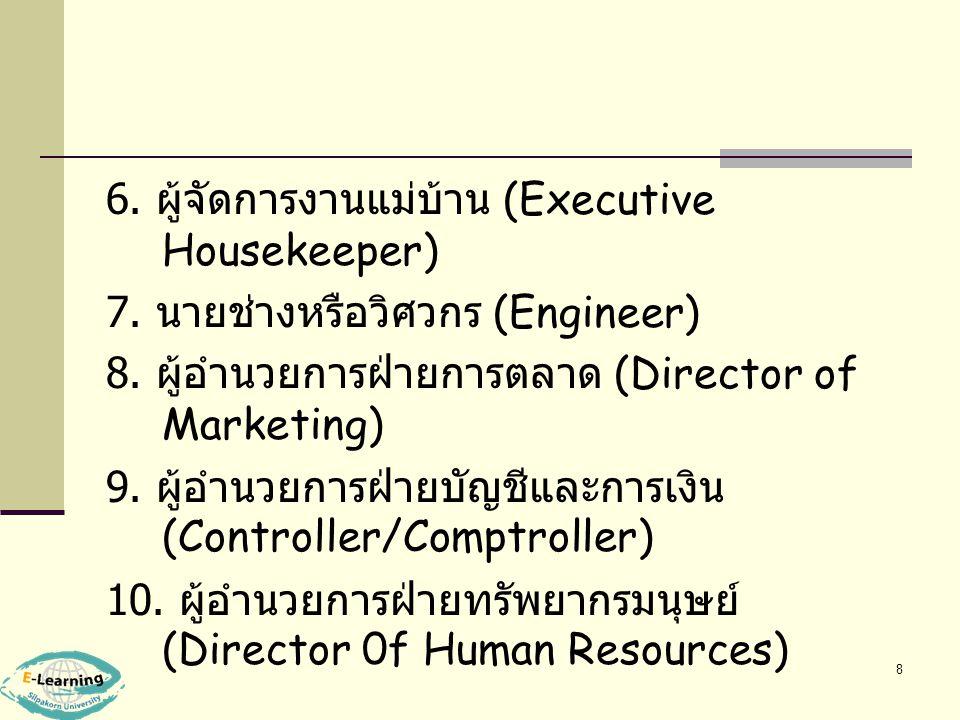 6. ผู้จัดการงานแม่บ้าน (Executive Housekeeper)