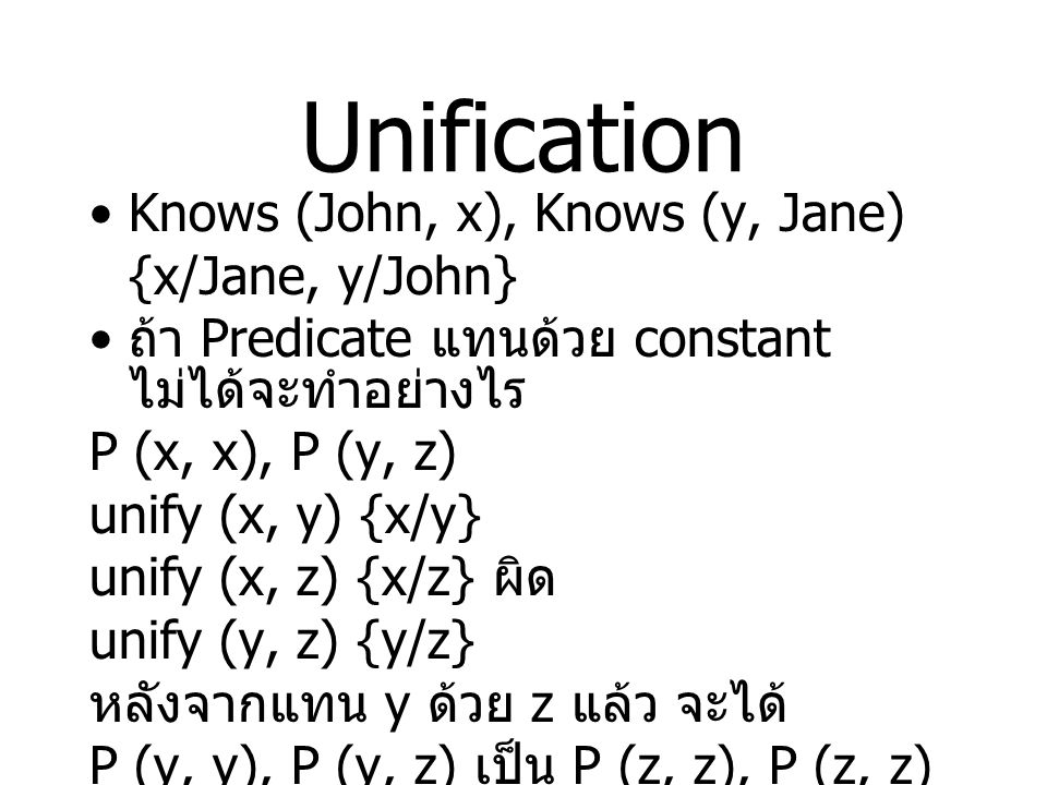 Unification Knows (John, x), Knows (y, Jane) {x/Jane, y/John}