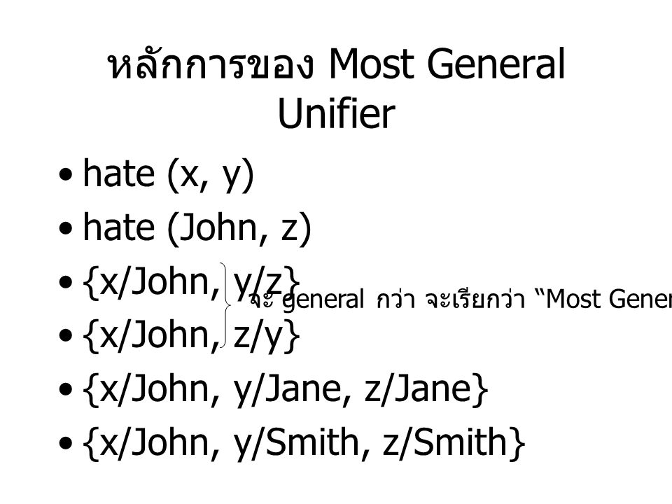 หลักการของ Most General Unifier