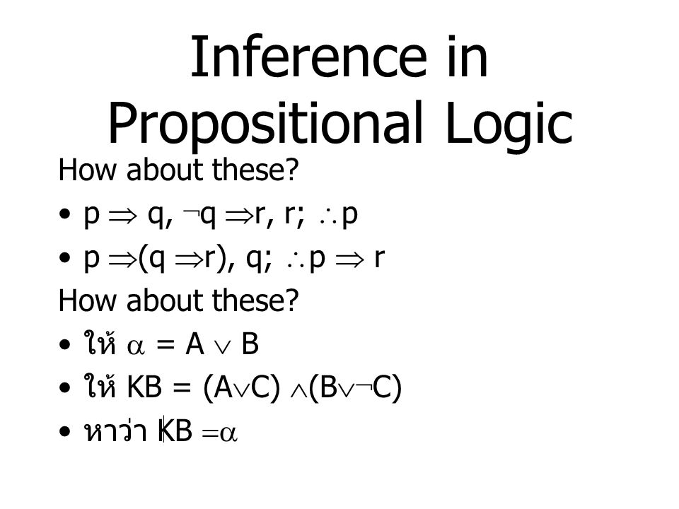 Inference in Propositional Logic
