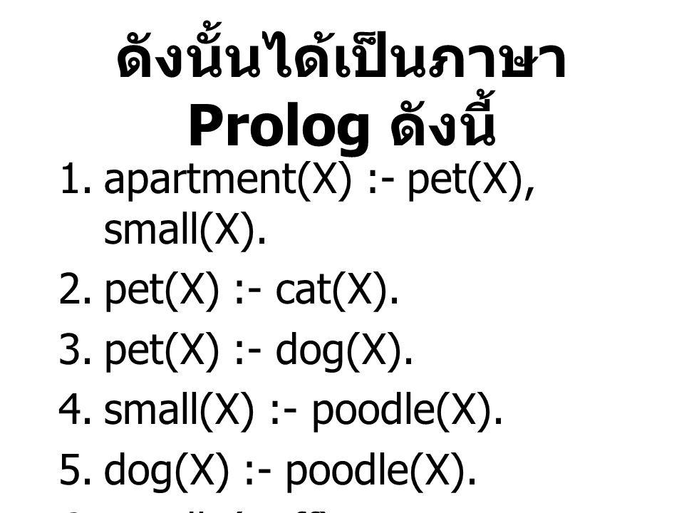 ดังนั้นได้เป็นภาษา Prolog ดังนี้