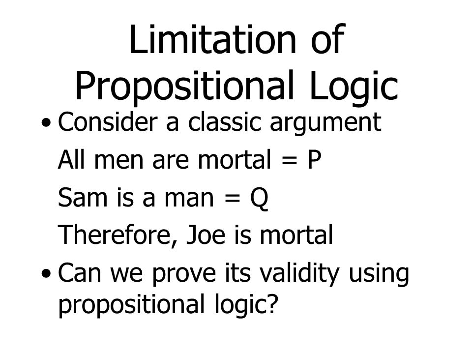 Limitation of Propositional Logic