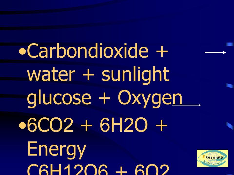 Carbondioxide + water + sunlight glucose + Oxygen