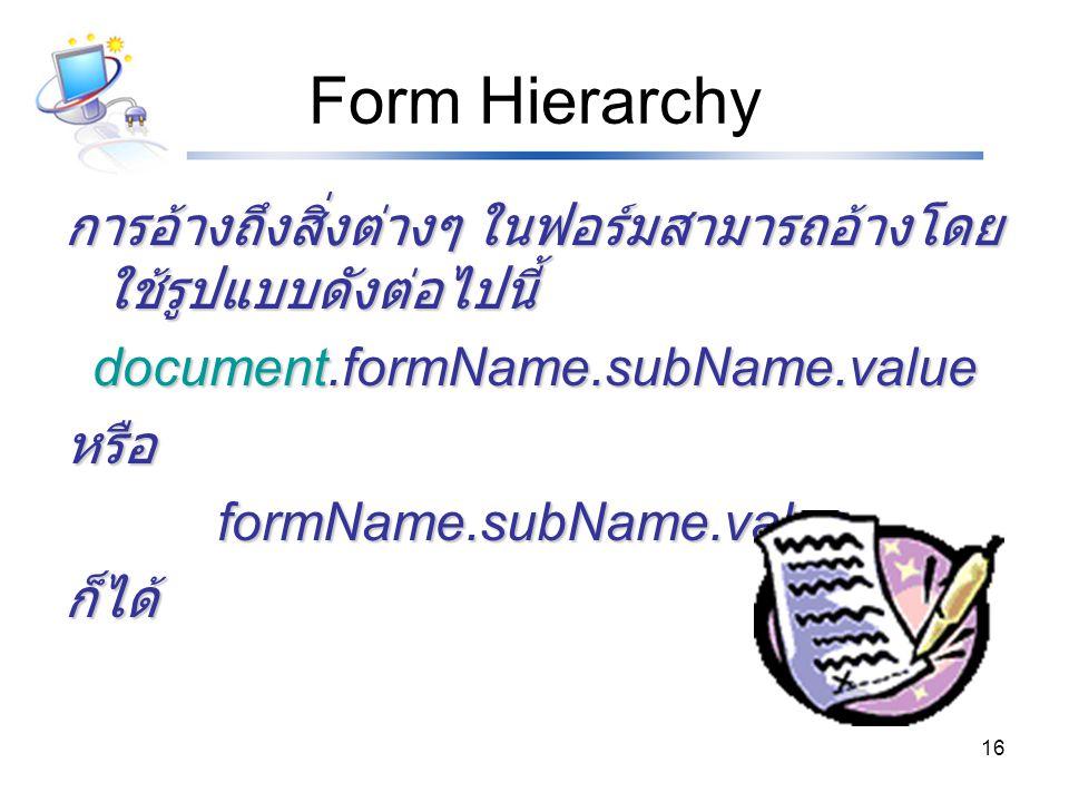 Form Hierarchy การอ้างถึงสิ่งต่างๆ ในฟอร์มสามารถอ้างโดยใช้รูปแบบดังต่อไปนี้ document.formName.subName.value.