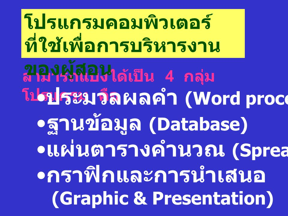 ประมวลผลคำ (Word processor) ฐานข้อมูล (Database)