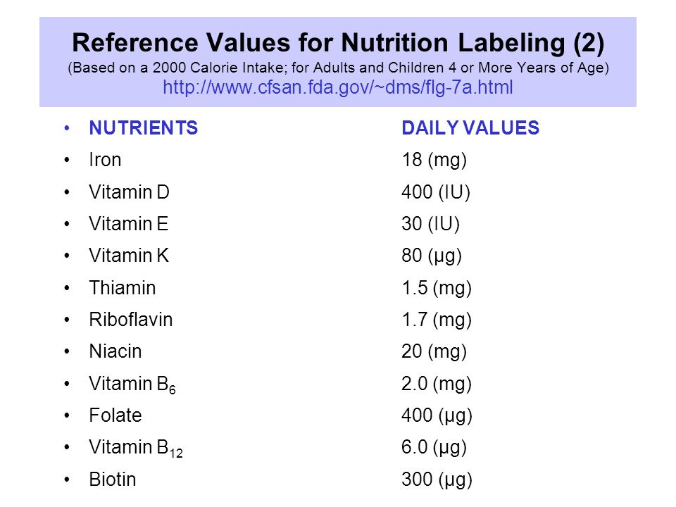Reference Values for Nutrition Labeling (2) (Based on a 2000 Calorie Intake; for Adults and Children 4 or More Years of Age) http://www.cfsan.fda.gov/~dms/flg-7a.html