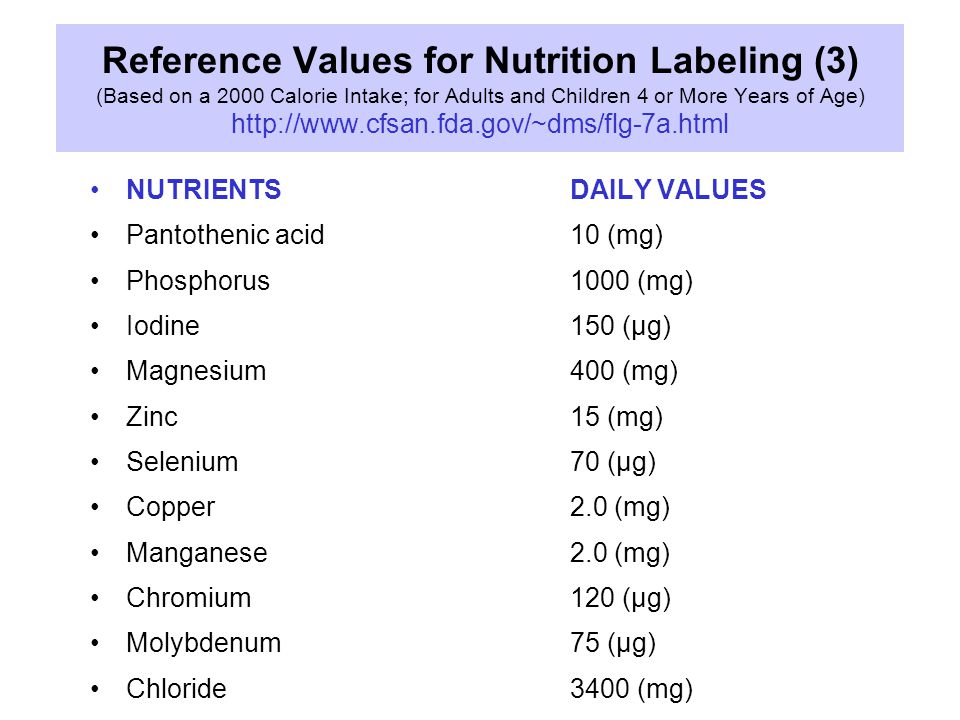Reference Values for Nutrition Labeling (3) (Based on a 2000 Calorie Intake; for Adults and Children 4 or More Years of Age) http://www.cfsan.fda.gov/~dms/flg-7a.html